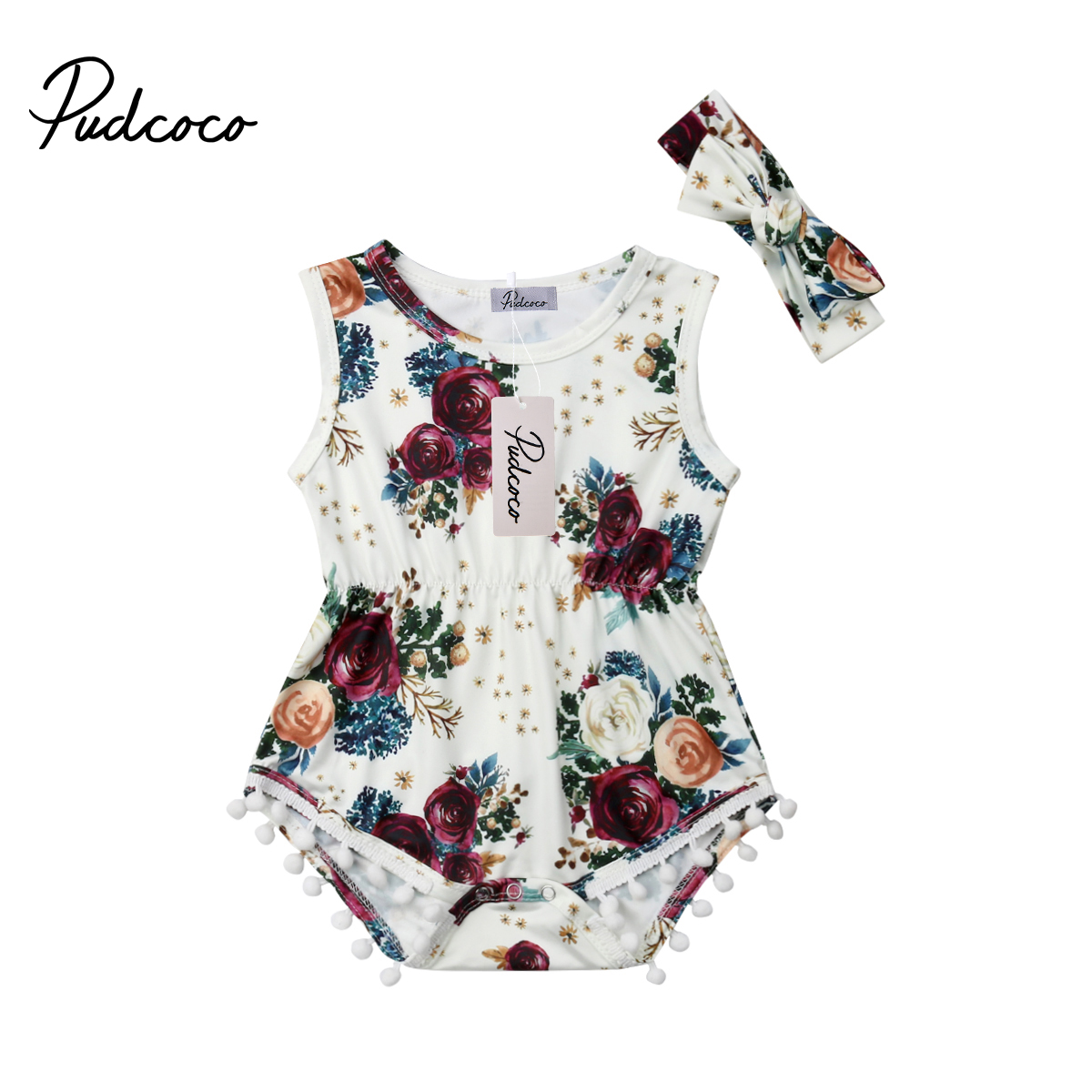 2019 Summer Baby Girls Floral Romper Jumpsuit Outfits Headband Clothes For Newborn Baby Girl Infant Children Cloth Kid Clothing
