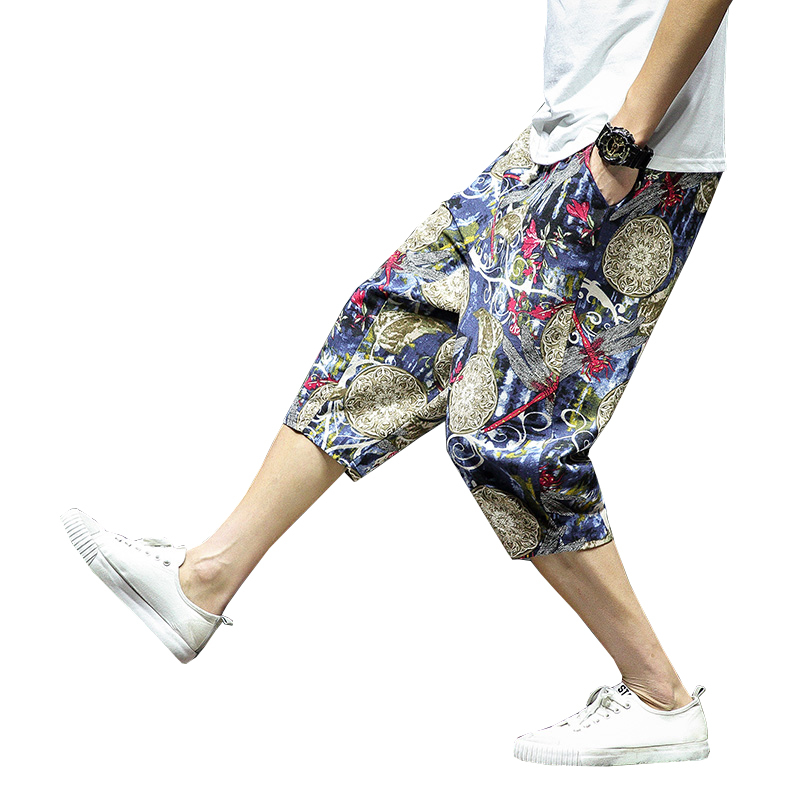 Trousers Shorts Leg-Pants Cropped Printed Chinese-Style Men's Summer Casual Beach Wide