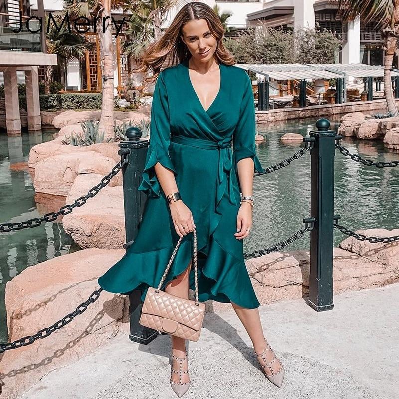 Jamerry Vintage élégant toucher femmes Satin hiver robe 2019 fendue Flare coque Midi Wrap robe Streetwear casual robe Vestidos