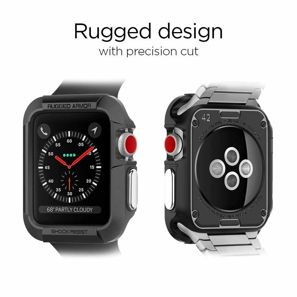 the best attitude bed7f b4dc7 Rugged Armor Rubber Case for Apple Watch 4 3 2 1 40MM 44MM Protective TPU  Strong Cover Screen Protector Cover For Iwatch 42MM