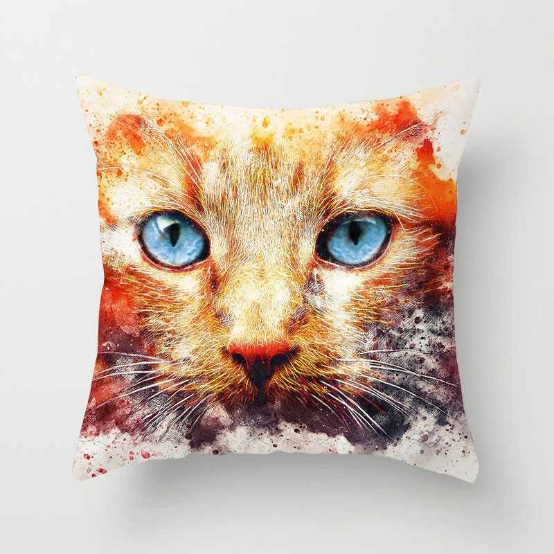 1 Pcs Cão Gato Bonito Padrão Animal Poliéster Throw Pillow Capa de Almofada Carro Decoração Decoração de Casa Sofá Fronha Decorativa 40599
