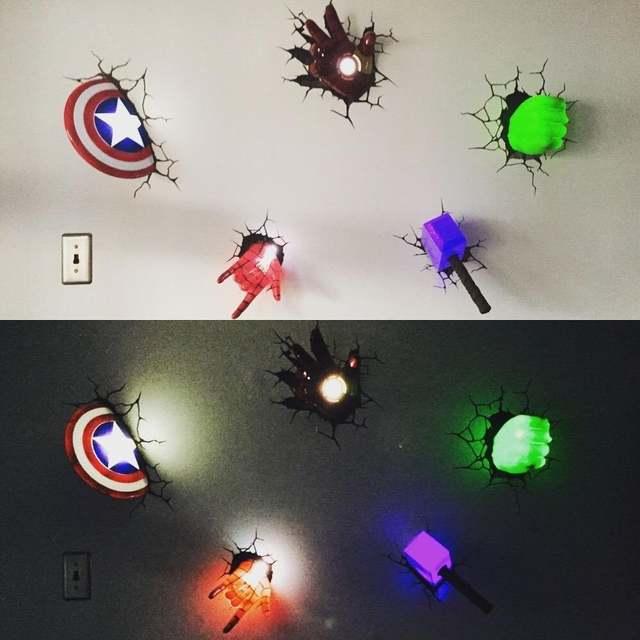 3d wall sticker lamp