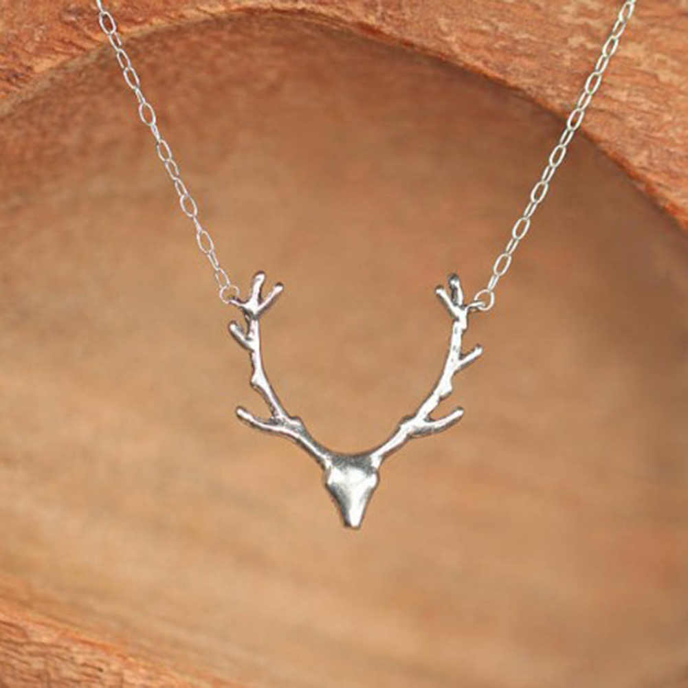 1PCS Adjustable Christmas Deer Necklace Animal Reindeer Stag Horn Antler Pendant Necklace Chain Fashion Jewelry Silver Gold Ear