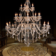 Luxury modern chandelier lighting for Church Hall Duplex house large cognac crystal E14 candle chandelier 28-42 pcs hotel Foyer