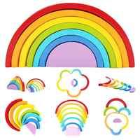 Crianças blocos de madeira brinquedos colorido infantil arco-íris bloco montagem brinquedo criativo crianças arco-íris montagem blocos brinquedo educativo