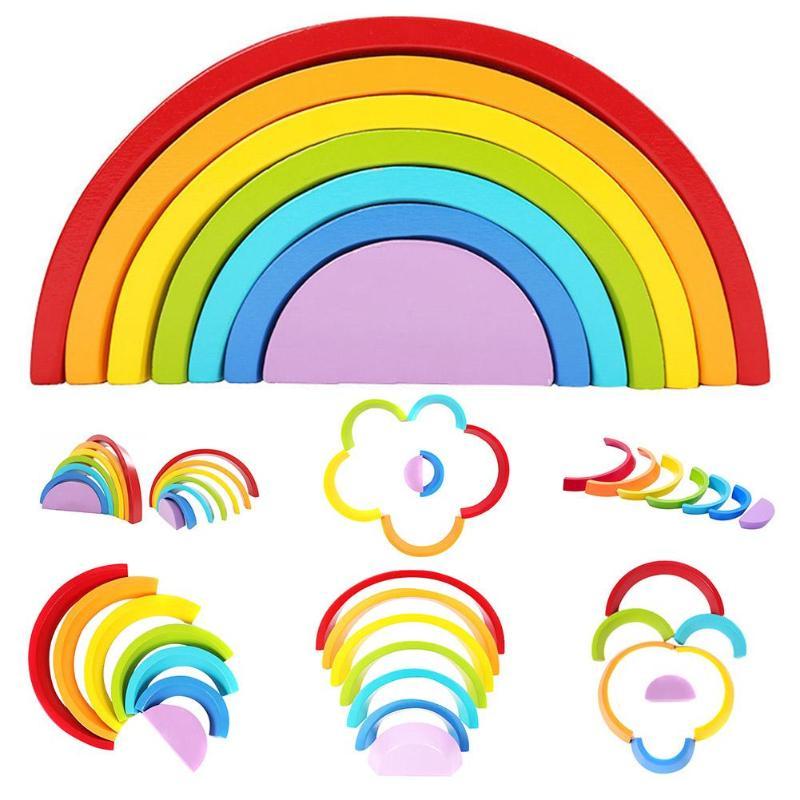 Kids Wooden Blocks Toys Colorful Infant Rainbow Block Assembling Toy Creative Children Rainbow Assembling Blocks Educational Toy