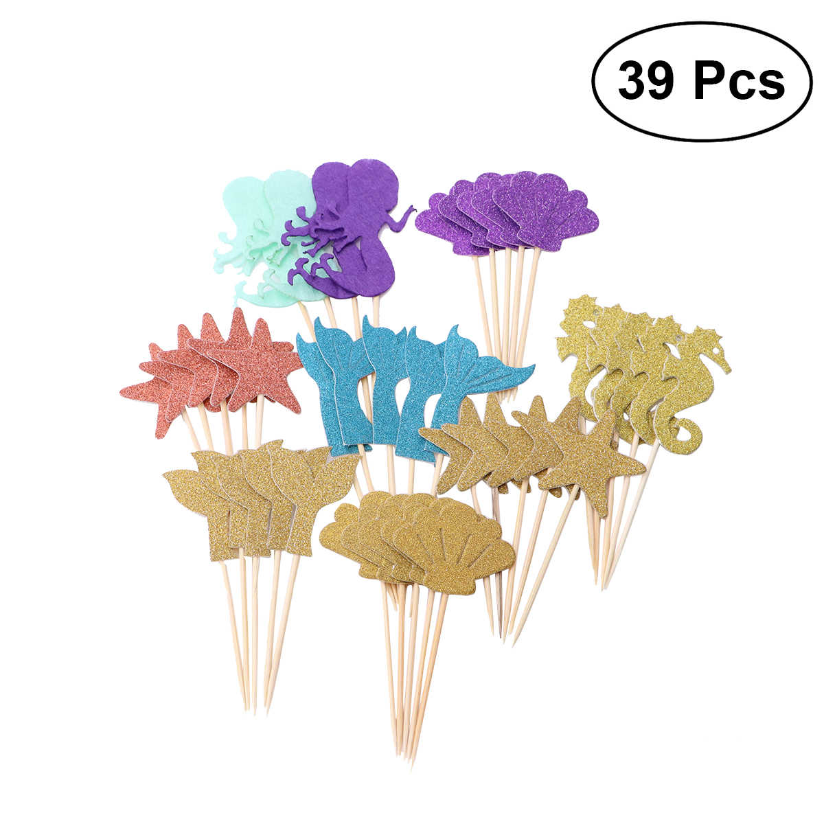 39PCS Star Attractive Cupcake Mermaid Decorative Topper Wrappers Decor for Birthday Party Supplies Mermaid Cupcake Topper