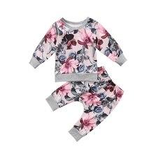 2pcs Newborn Baby Girls Clothes Coats T-shirt Tops+Floral Pants Outfits Set цена