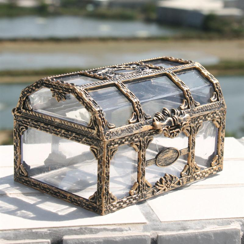 Organizer Jewelry-Box-Storage Treasure-Box Trinket Keepsake Crystal Chest Pirate Plastic Transparent title=