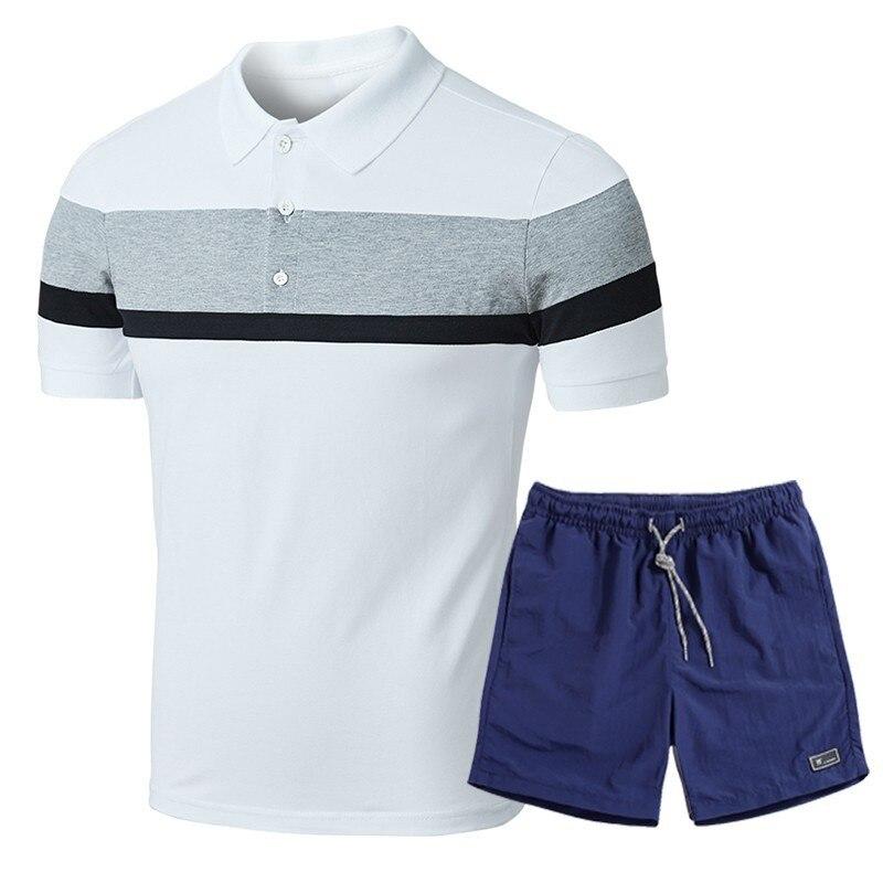 Capable 4xl Men Summer Set Outwear Casual Cotton Tracksuit Polo Shirts + Shorts 2 Pcs Set Fashion Elastic Sportswear Polo Short Set Men