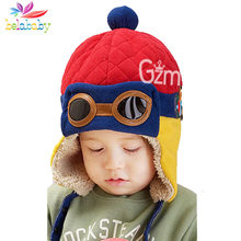 New Infant Knitted Warm Hat 2018 Children Earmuffs With Cap Cartoon Toddler Beanie Stitching Winter Hat Boy Girls Fur Pom Bonnet(China)