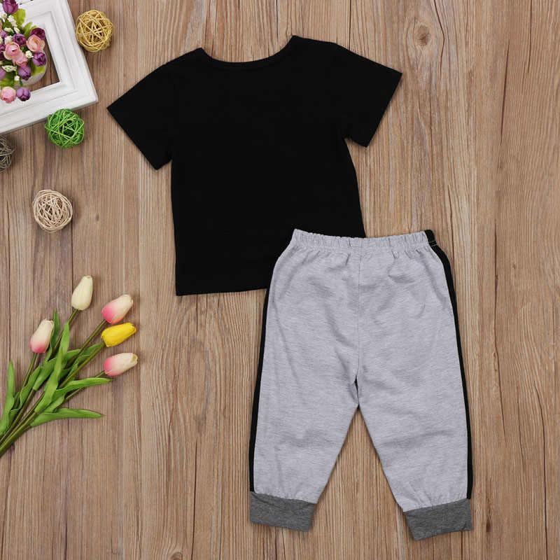 2 חתיכות פעוט ילד בגדים קצר שרוול מיני בוס הדפסת T חולצה למעלה ומכנסיים סט ילדי תינוק ילד תלבושת בגדים