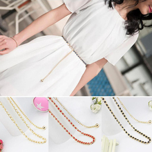 Girls Metal Waist Belt Body Chain Imitation Pearl Beads Dress Women Fashion Belts