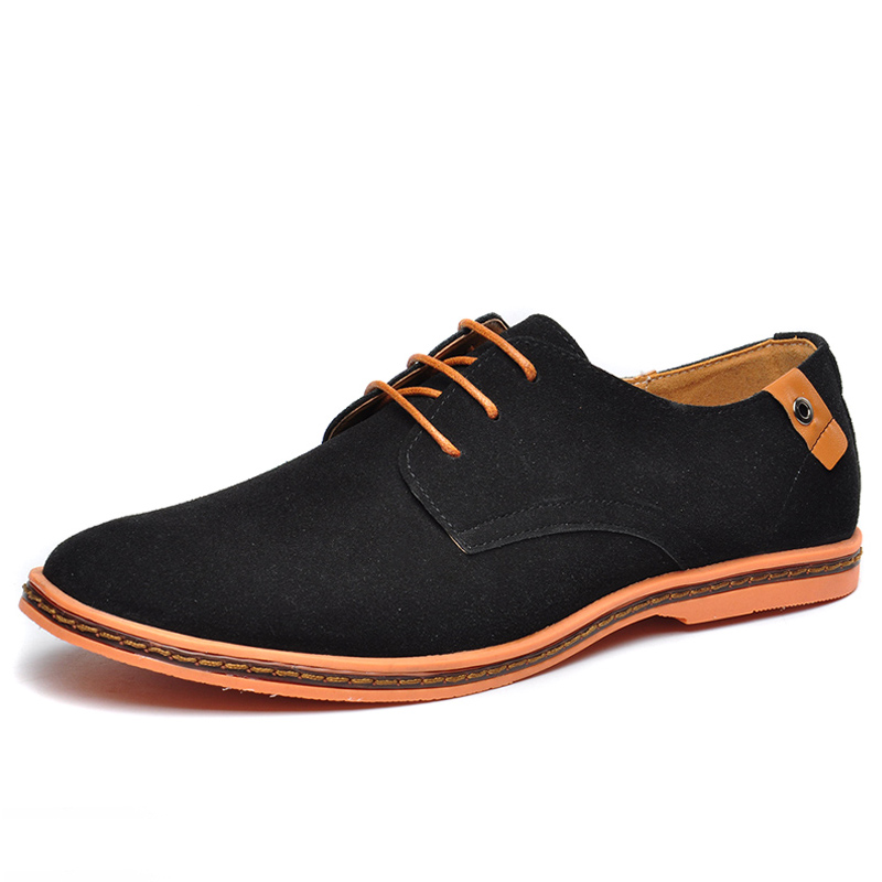 Cow   Suede     Leather   Shoes Men 2019 Spring Fashion Oxfords Men's Shoes Casual Male Lace-up Sneakers Men Plus Size 38-48