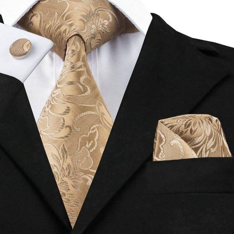 C-309 Golden Brown Mens Tie Set 2017 Jacquard Silk Ties Pocket Square Cufflinks Fashion Floral Ties For Men 8.5cm Corbatas