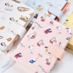 Korean Kawaii Cat PU Leather Schedule Book Diary Planner Organizer Notebook Cute Agenda 2018
