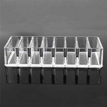 Durable Modern 8 Slot Clear Acrylic Compact Holder Powder Blush Storage Makeup Case Organiser Home Cosmetic Storage Box(China)