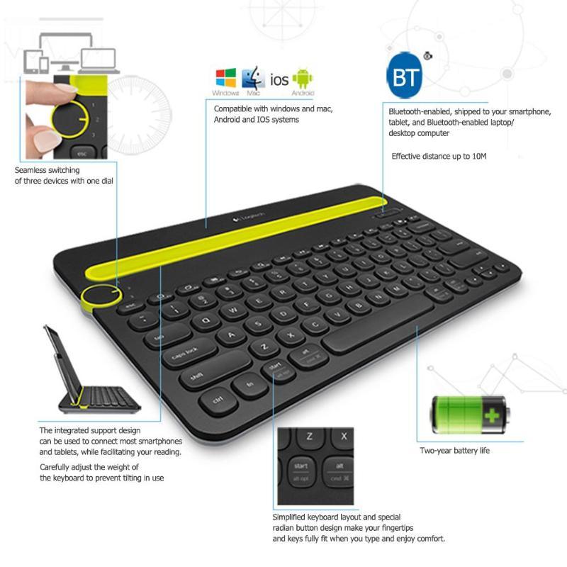 Logitech K480 Bluetooth multi-périphériques clavier Portable avec support pour téléphone Slot pour Windows Mac OS iOS Android téléphone intelligent/tablette