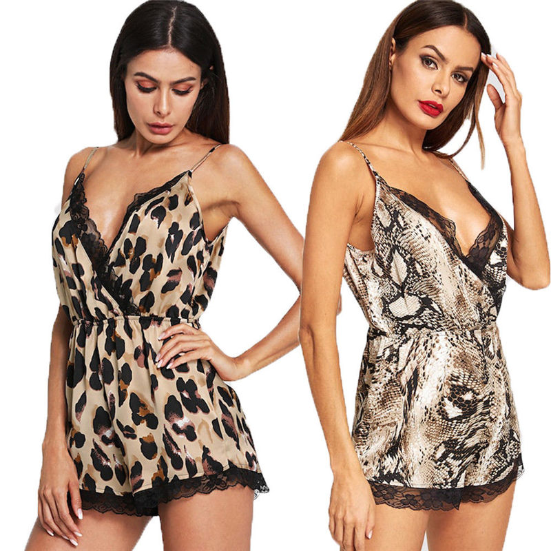 Women's Clothing Hirigin Hot Sale Sexy Leopard Print Women Lace Babydoll Playsuits Fashion Comfort Female Nightwear Sleepwear Playsuits Dropship Activating Blood Circulation And Strengthening Sinews And Bones