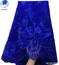 BEAUTIFICAL embroidery royal blue african french mesh lace fabric 5 yards/piece for wedding nigeria bead net ML2N145