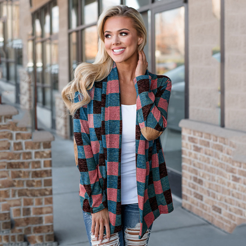 Fashion Women Autumn Cardigan Coat Casual Classic Plaid Print Elbow Patch Open Front Long Sleeve Cardigan Blouse Female Outwear