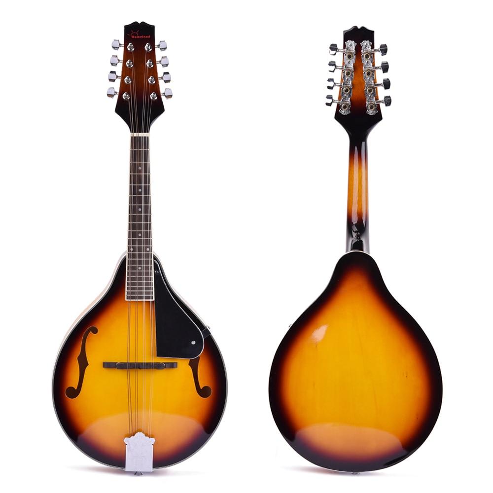 Mandoline 8 cordes Instrument de musique en tilleul avec corde en acier palissandre mandoline Instrument à cordes pont réglable