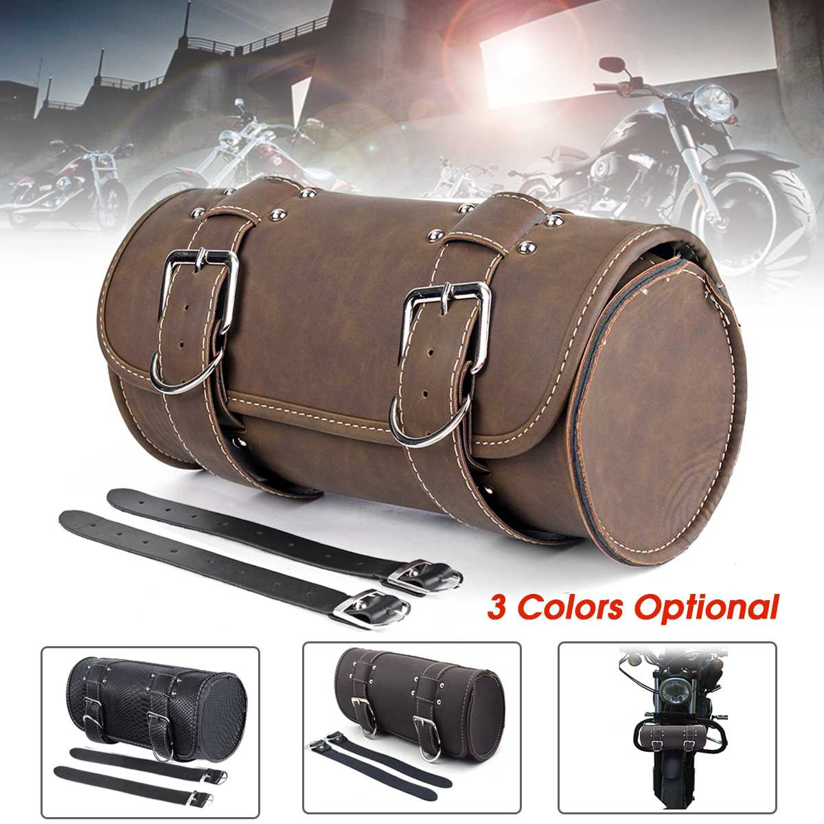 Universal Motorcycle Saddlebags Leather Storage Luggage Bags Front Tool Pouch For Harley Sportster
