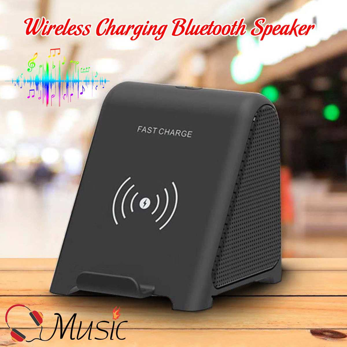 KINCO Qi Fast Wireless Charging Stand Charger With bluetooth Speaker For ALL Qi Phones Portable Audio & Video Speakers