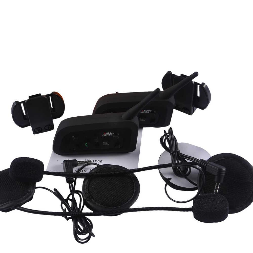 Новый два беспроводных мотоцикла радио BT Walkie-talkie V6-1200 влагозащищенный от шума и ветра домофон