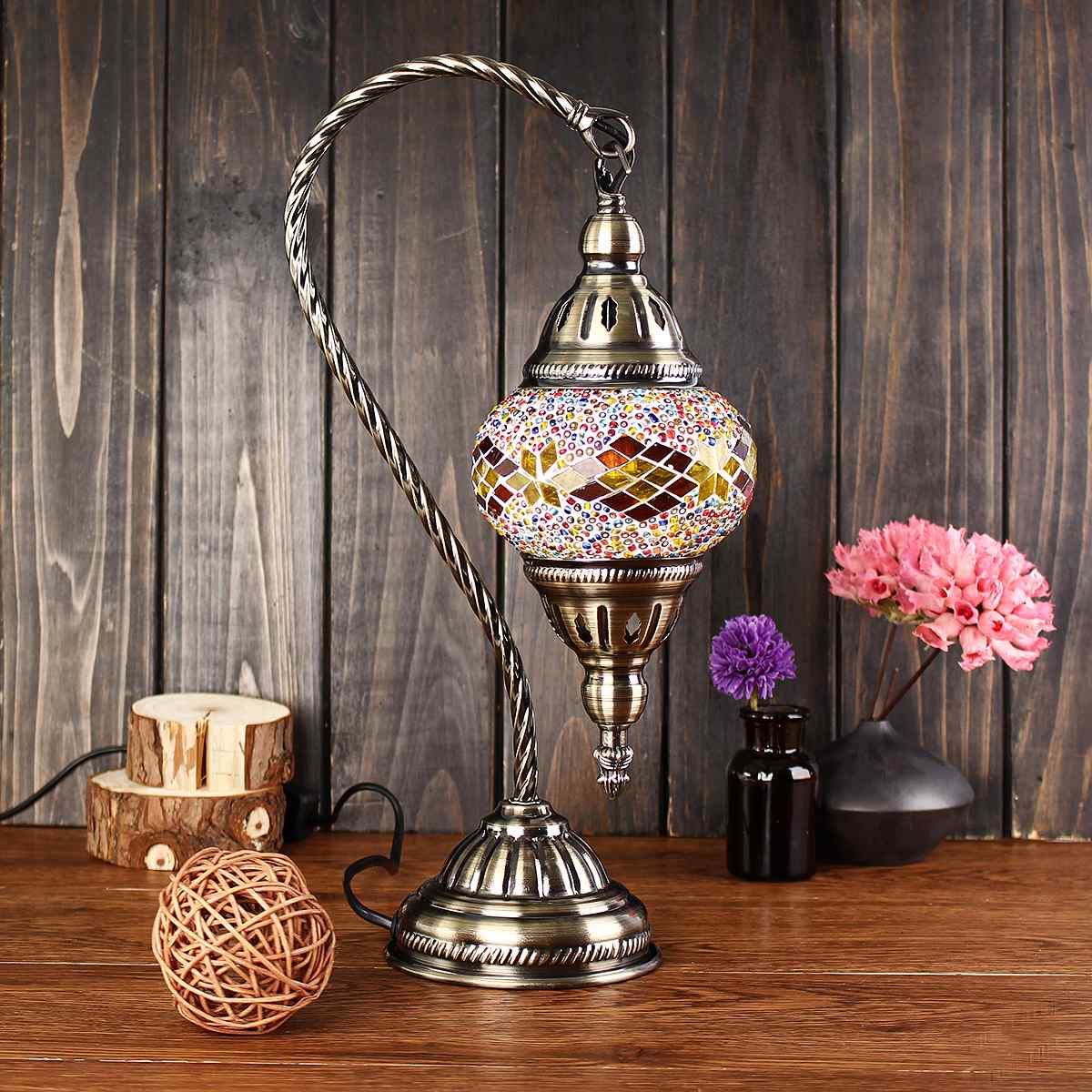 Lampes de Table lumière turque décorative pour chambre salon incrusté à la main en verre bureau lumière maroc Style cadeau E14 Vintage
