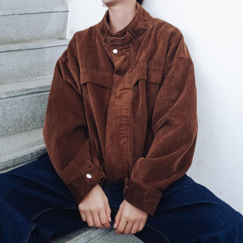 2019 Korean Style Men's New Corduroy Fabric Coats Streetwear Brand Bomber Jacket Male Outerwear Loose 3 Color Windbreaker M-2XL