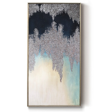 silvery and blue white Modern home Decorative 100%hand painted abstract oil Painting canvas painting wall art Hotel Living Room
