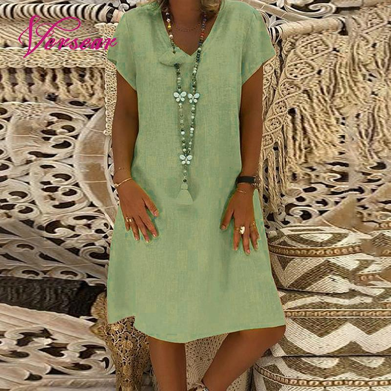 Spring New Casual V-Neck Cotton Linen Dress For Women Summer Feminino Vestidos Loose Casual Cotton Plus Size 5XL Ladies Dresses