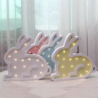 INS Nordic LED Night Light Wooden Cute Cartoon Rabbit Children Room Table Lamp Originality Wall Lamps New Year Gift Hot Sale LED