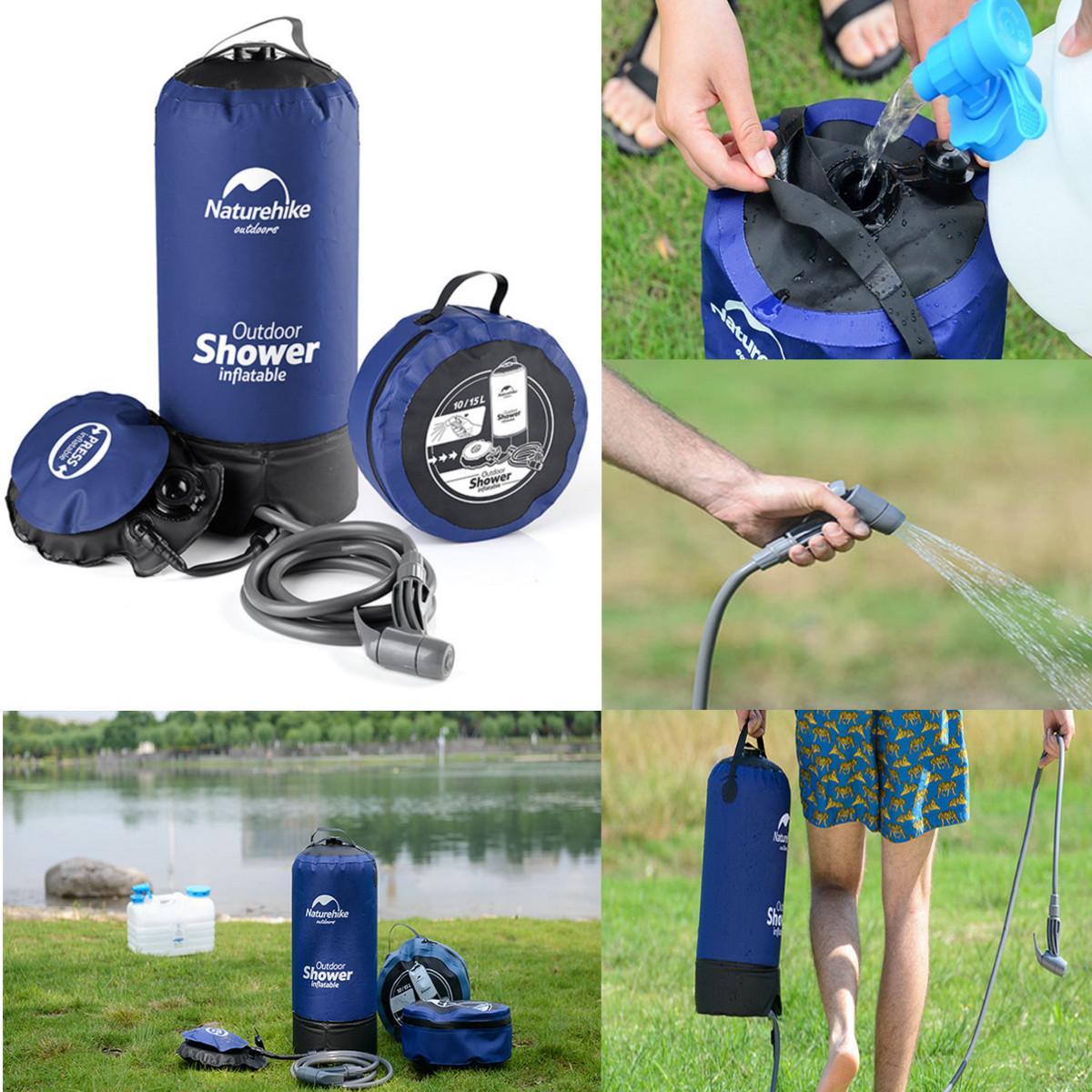 Douche gonflable pression douche sac à eau Portable randonnée en plein air sac de douche pliant baril Camping sacs de stockage d'eau 12L
