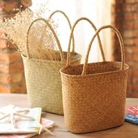 Handmade Straw Wicker Weaving Storage Basket With Handle For Kitchen Fruit Flower Food Bread Shopping Rattan Beach HandBag