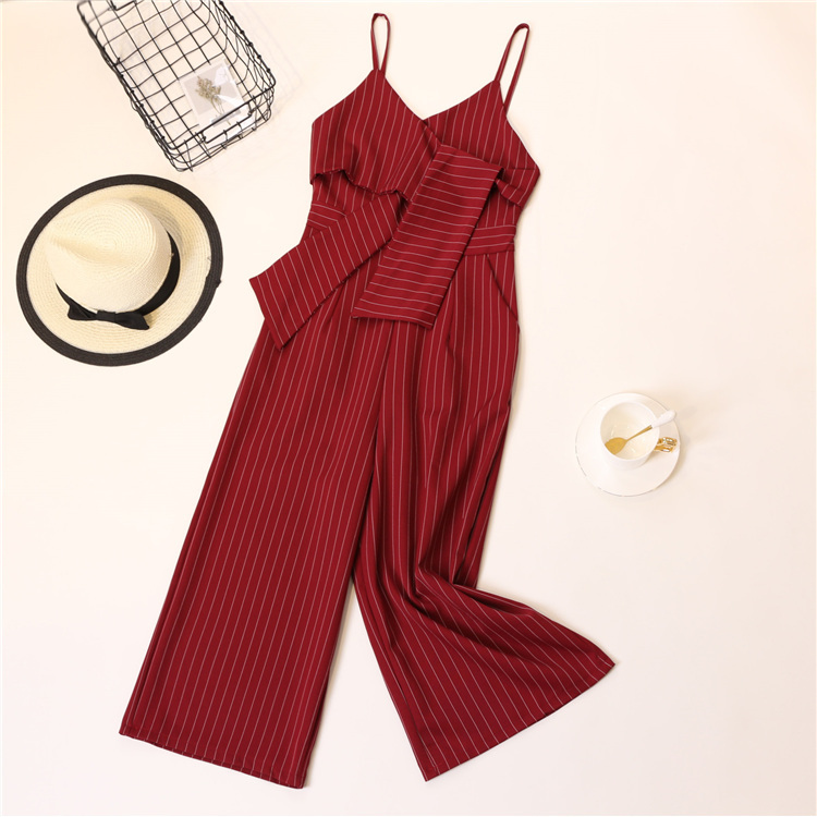 Summer Stripe Camisole Jumpsuit Women V-neck Striped Sexy High Waist Wide Leg Pants Office Ladies Red Black Overall Bodysuit 68