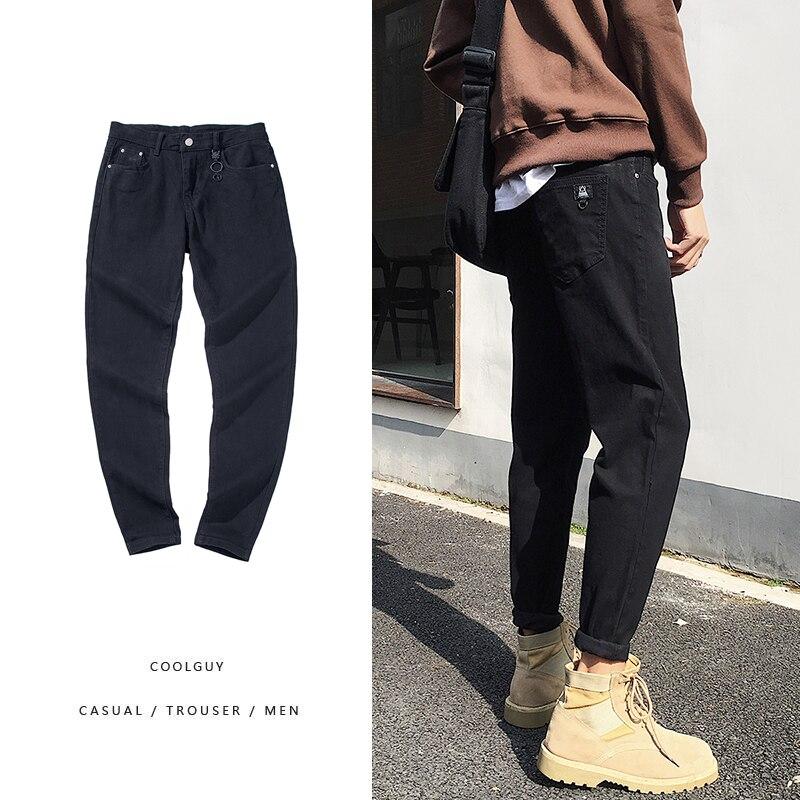 2019 Spring New Men's Korean Version Of Chic Denim Trousers Men's Slim Feet Jeans Blue / Black / Dark Gray 28-34