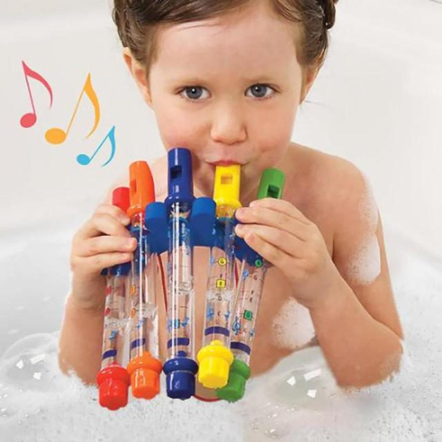 1pcs Water Flute Toy Colorful Kids Water Flutes Bathtub Tunes Toys Music Fun Sounds Baby Shower Bath Music Toy Learn