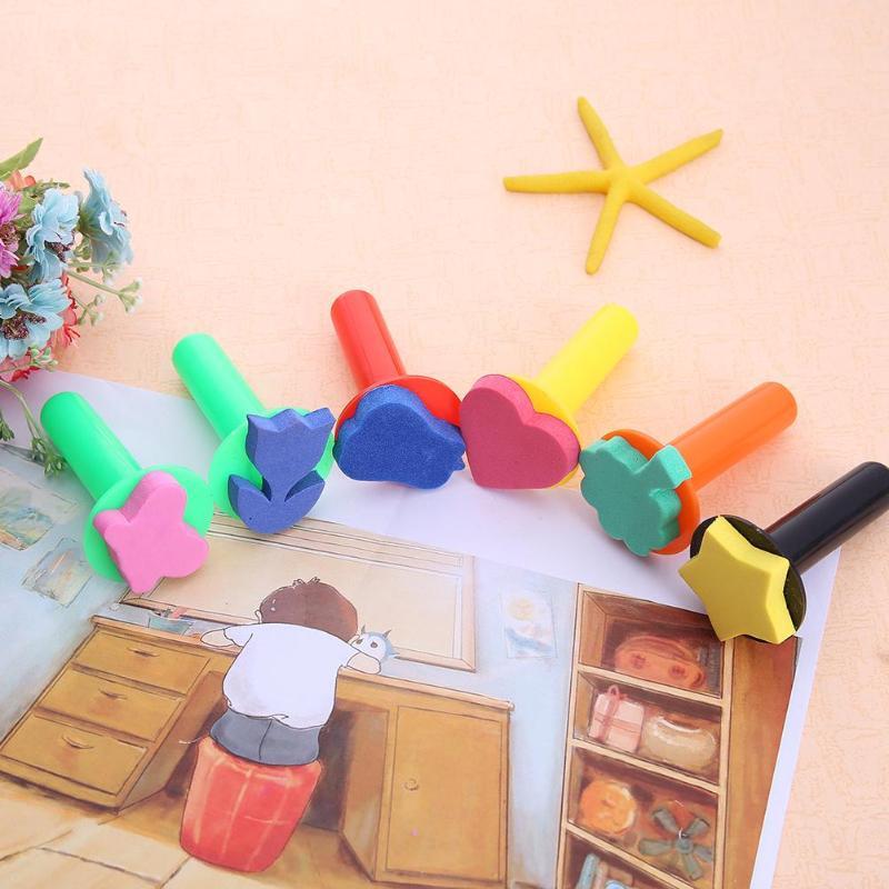 Toys For Children 6pcs/lot Wooden DIY Painting Sponge Brush Toy Handle Bab Graffiti Sponge Art Supplies Seal Painting Tools