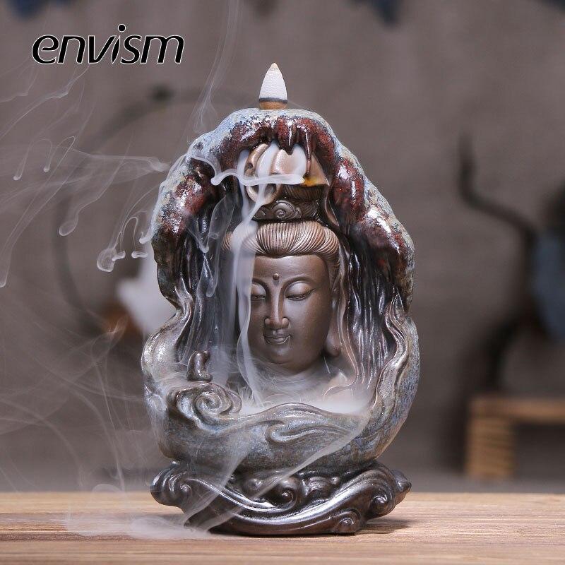 ENVISM bouddha brûleur d'encens créatif bouddhiste encensoir maison parfum porte-encens pour la décoration de la maison salon bureau Teahouse