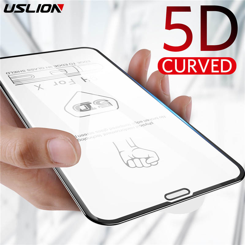 USLION Für iPhone X 7 8 Plus XS Max Glas Für iPhone 6 6 s 7 XR X Glas Film 5D Gehärtetem Glas