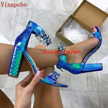 Vinapobo Women Sandals 2019 Transparent Thick Heel Perspex Ladies Crystal Sandals Summer Clear High Heel Women Shoes Sandalias single sole clear lucite chunky heel sandals women ankle strap perspex high heel sandal plastic transparent dress sandals