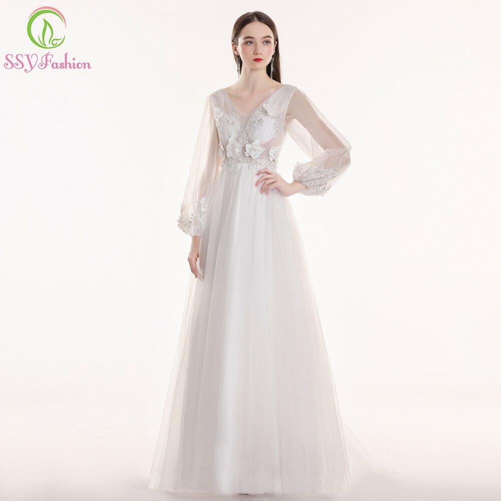 Ssyfashion Long Sleeve Wedding Dresses The Bride Elegant: Aliexpress.com : Buy SSYFashion New White Long Sleeve