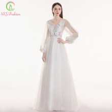 SSYFashion New White Long Sleeve Wedding Dress Bride Sexy V-neck Lace Appliques Sequins Sweep Train Wedding Gown Robe De Soiree(China)