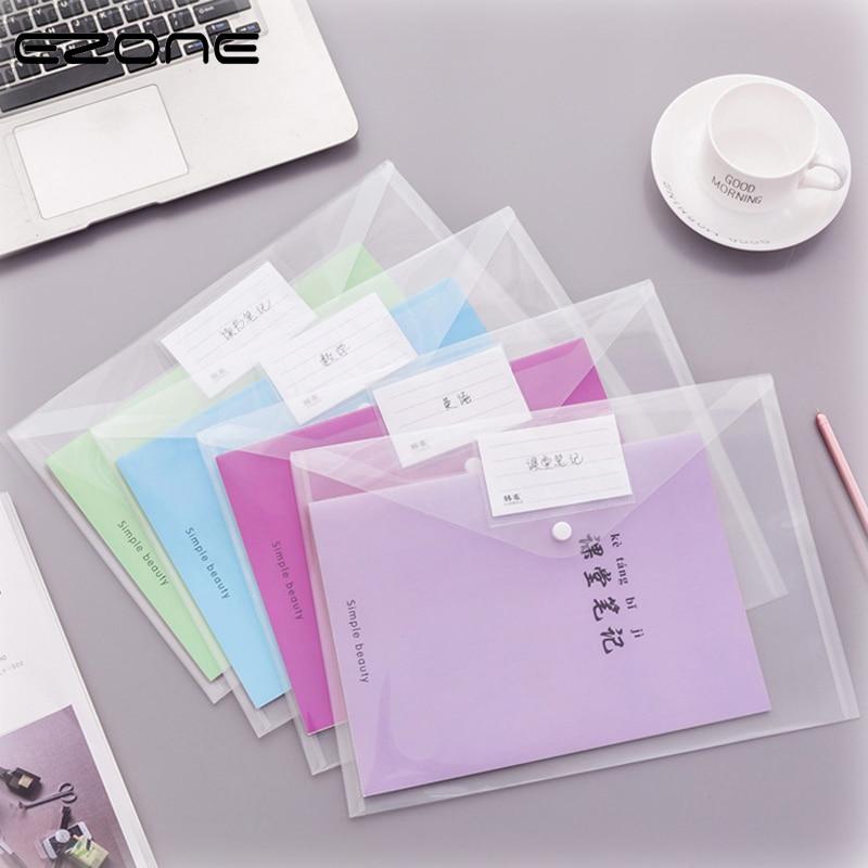 EZONE 1PC A4 Transparent Folder Button File Bag Large Capacity Plastic Document Bag Office File School Test Paper Storage Bag