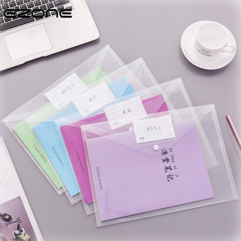 EZONE A4 Presentation Folder Button File Bag 1PC Large Capacity Plastic Document Bag Office File School Test Paper Storage Bag