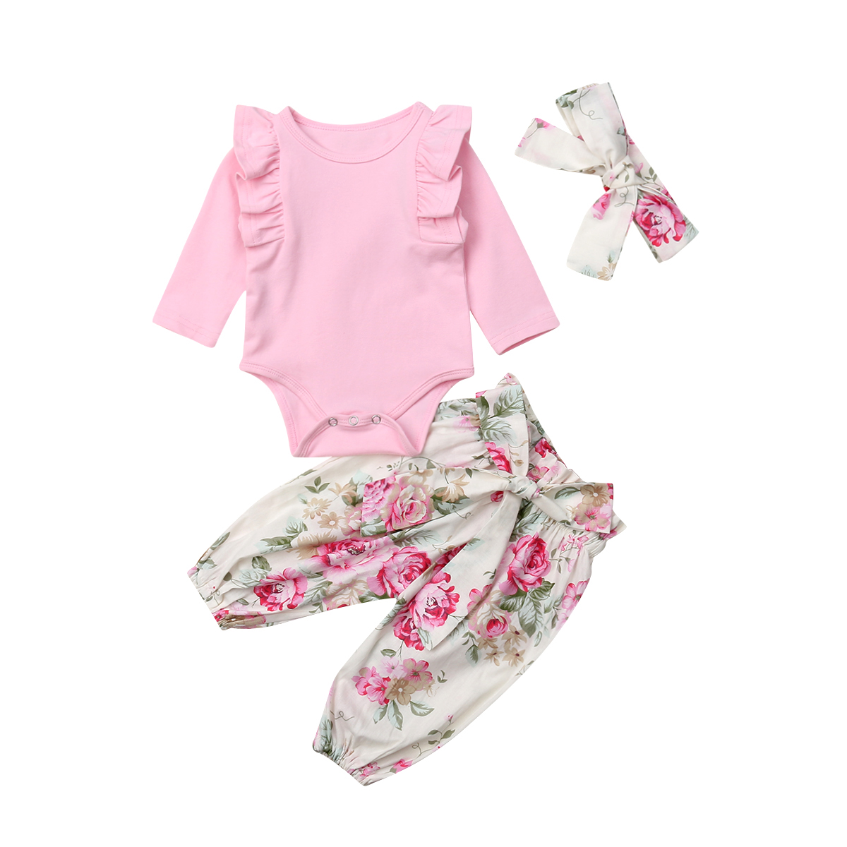 98bd1e2a78 Detail Feedback Questions about Newborn Baby Girl Autumn And Winter Long  Sleeve Cotton Clothes Set Pink Romper Tops + Flower Pants + Headband 3pcs  Outfits ...