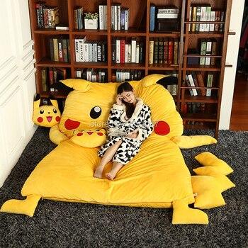 150x200cm Lovely Pikachu Sleeping Bag Sofa Bed Twin Double Mattress for Children Oversized Beanbag Tatami