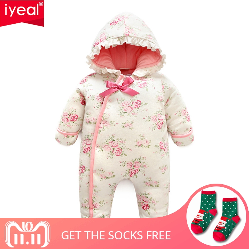 цены IYEAL Warm Baby Rompers Winter Baby Clothing for Newborns Costume Princess Baby Girl Clothes Cotton-padded Overalls Jumpsuits